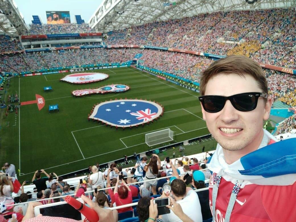 Сергей пришёл поболеть за перуанскую команду на группового этапа Чемпионата мира по футболу. Стадион «Фишт», 26 июня 2018 года.