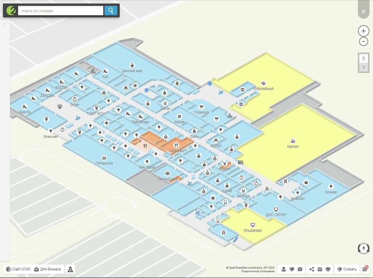 План 1-го этажа ухтинского ТРЦ «Ярмарка»